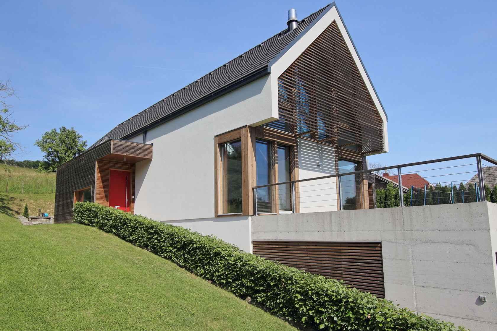 combination of a flat and gable roof Modern glass houses – KG - ^