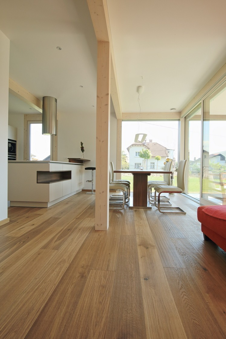 In warm colours of wood - Glass house